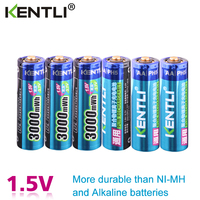 KENTLI 6pcs/pack High Capacity free shipping lithium ion batteries 3000mWh 1.5V lithium polymer battery rechargeable AA battery