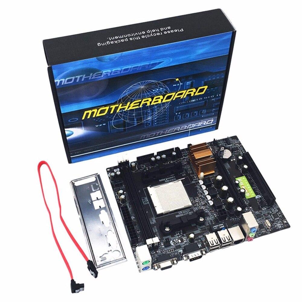Pour AM2 AM3 CPU DDR2 + DDR3 Mémoire N68 C61 Carte Mère Support D'ordinateur de Bureau Carte Mère Avec 4 SATA2 Ports