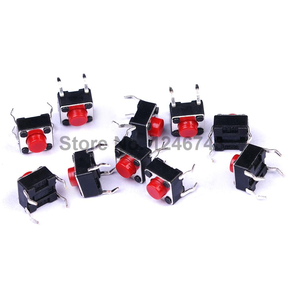 100PCS 6*6*5mm Red Button 6x6x5mm 4Pins Tactile Push Button Switches Tact Switch 10 pcs tactile push button switch tact switch for arduino 4p dip 6x6x5mm