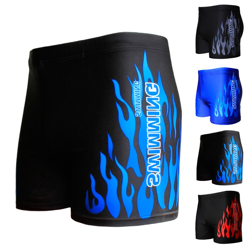 Flame Pattern Men Male Swimming Swimwear Boxer Shorts Bathing Suit Trunks Swim Black Blue Beach Wear Briefs Swimsuit Beachwear(China)