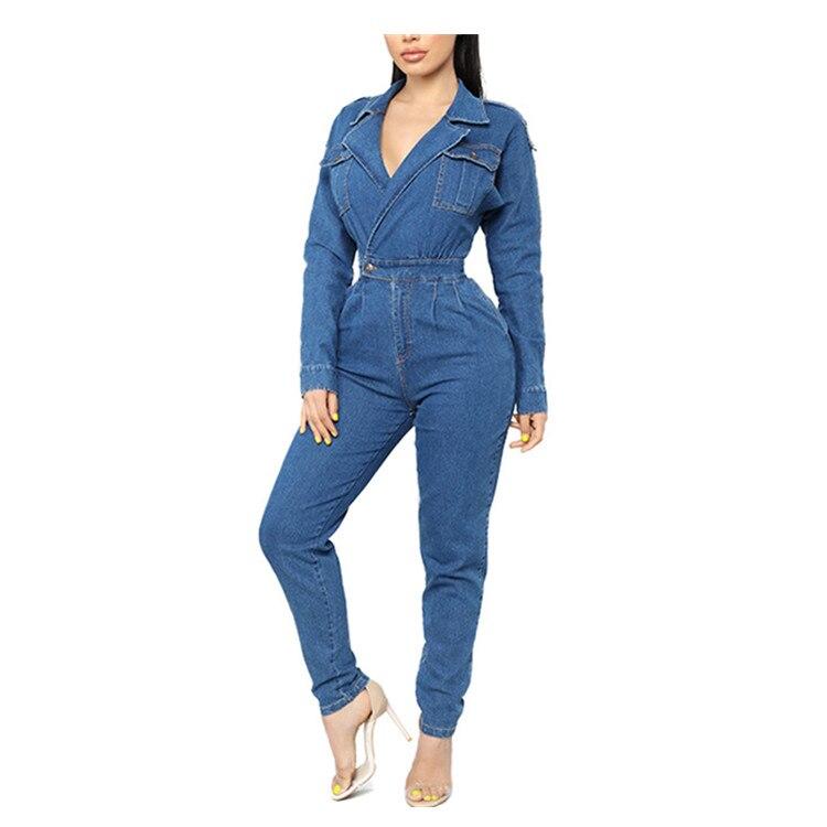 2Color Women/'s Turn-down Collar Long Sleeve Work Bodysuit Jumpsuit Romper Shirt