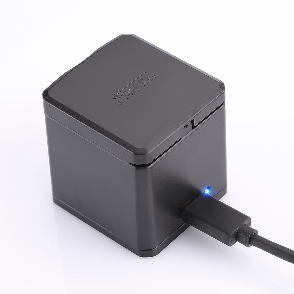 TELESIN 3 Slots led chargeur de batterie De Charge boîte de rangement + 3 bloc-pile + Type C Câble pour GoPro Hero 5 6 7 caméra Accessoires - 3
