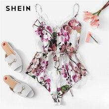 SHEIN Multicolor Lace Trim Floral Teddy Lingerie Romper Bodysuit Chiffon Sexy Sleeveless Modern Lady Women Onesies