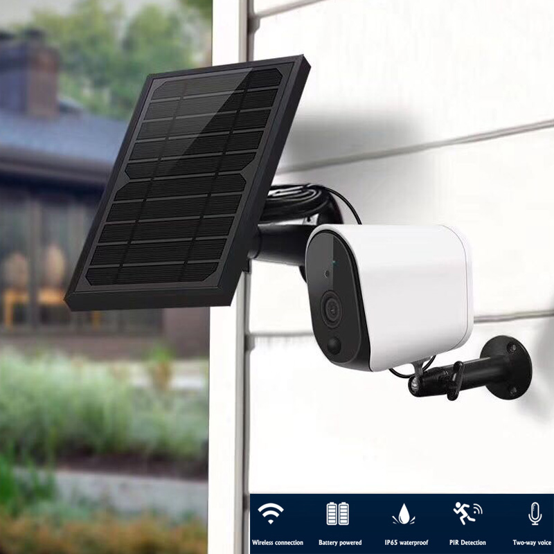 HD 1080p Outdoor Solar Battery WiFi Camera IP65 Waterproof Certified Smart  Wireless Security Camera With Audio Night Vision
