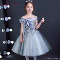 Lovely Lace Appliques Ribbon Bowkt Flower Girl Dresses Kids Evening Gowns For Wedding First Communion Dresses