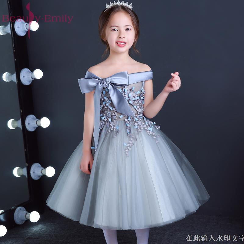 Lovely Lace Appliques Ribbon Bowkt Flower Girl Dresses Kids Evening ...