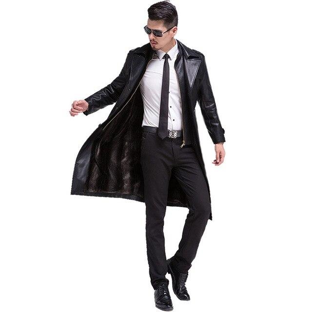 Новый Горячий Повседневная С Длинным Мужская Кожаная Куртка Толщиной Теплая Зима Осень Мужчины Искусственной Кожи Пальто Ветровка С Моды Верхняя Одежда C175