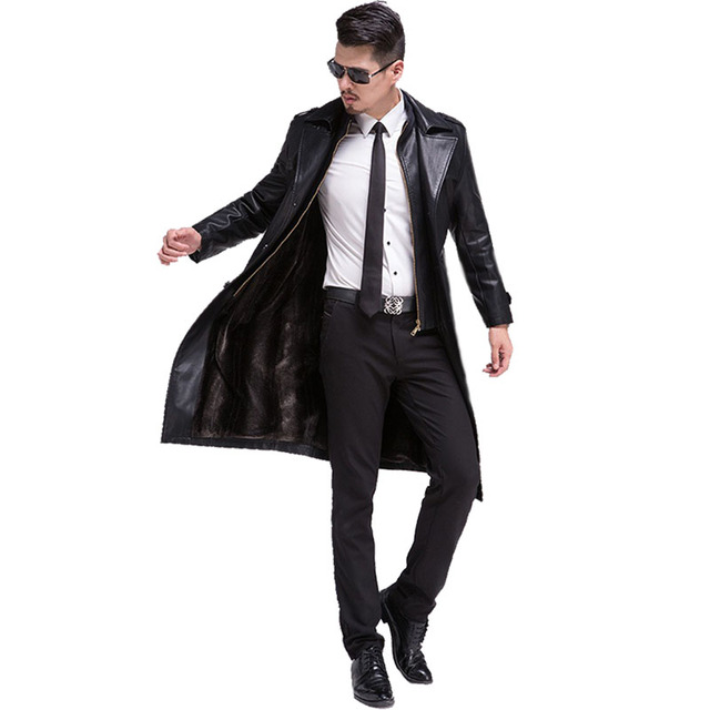 New Hot Casual Long Men Leather Jacket Thick Warm Winter Autumn Men Faux Leather Coat Windbreaker With Fashion Outerwear C175