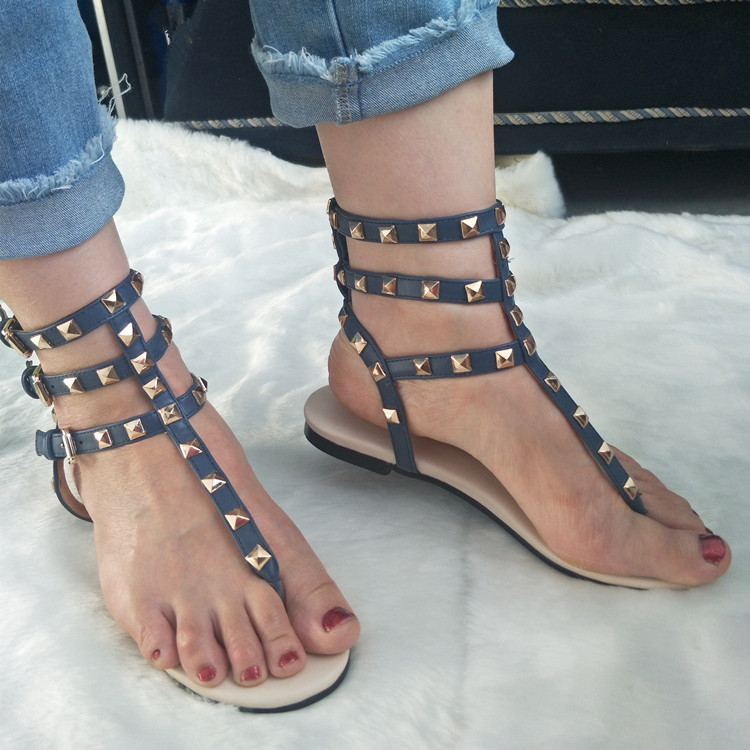 0900f8dd3699 Hot Selling Rivets Studded Woman Flat Sandal Summer Sexy Cutouts Thong  Sandal Buckle Strap Leather Shoes -in Women s Sandals from Shoes on  Aliexpress.com ...