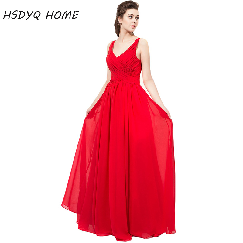HSDYQ HOME Red V-neck Bridesmaid Dresses 2018 Sleeveless Pleates ...