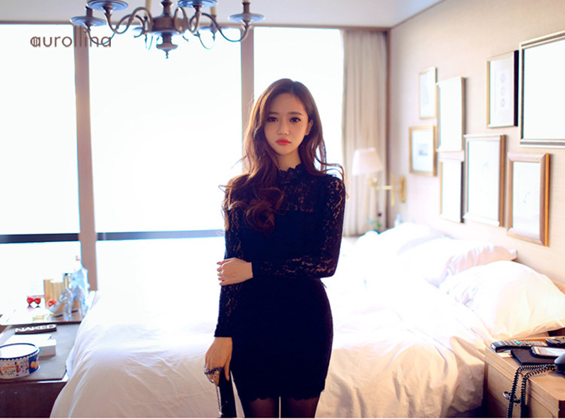 Black Hollow Out Lace Dress Charming Female Curve Party Outfit Formal Mini Skirt (10)