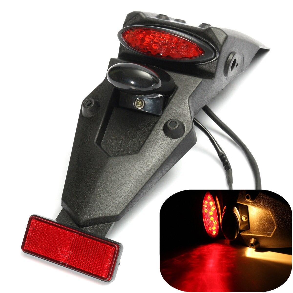 12V Motorcycle Fender Flares Rear Tail Stop Brake LED Light Reflector Universal For MX Motocross Sport Pit Dirt Motorbike