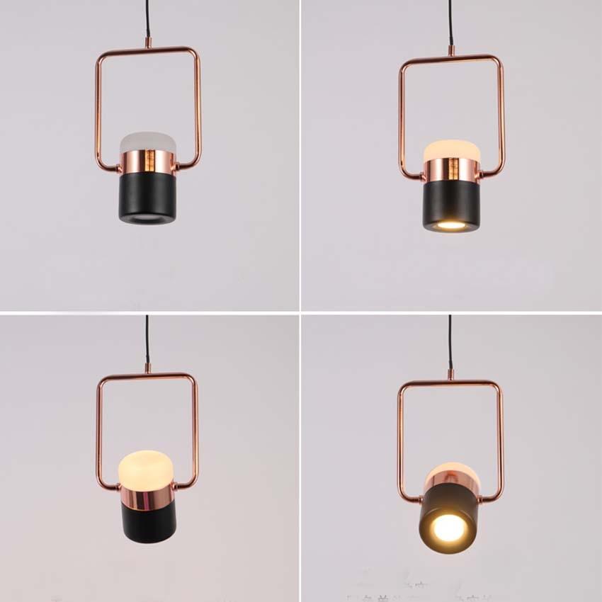 Nouveau pendentif LED postmoderne lumières plaqué or rose en fer forgé nordique simple suspension lampe salle à manger chambre lampe à main lumière - 3