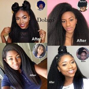 Image 5 - Kinky düz saç brezilyalı bakire saç örgü demetleri kaba Yaki 100% İnsan saç 2 ve 3 demetleri ile kapatma Dolago uzantıları