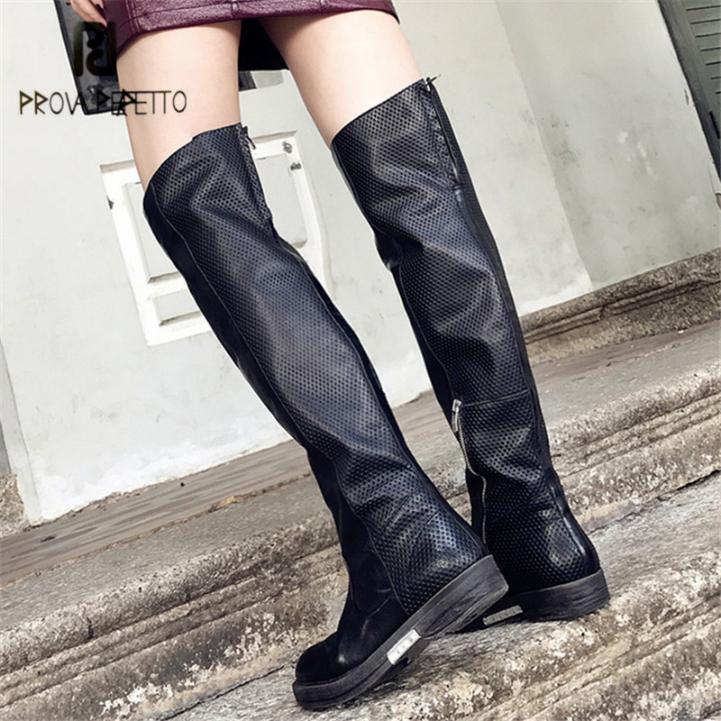 Prova Perfetto Black Women Thigh High Boots Flat Martin Boots Platform Rubber Botas Militares Autumn Winter Bottine Femme Flats
