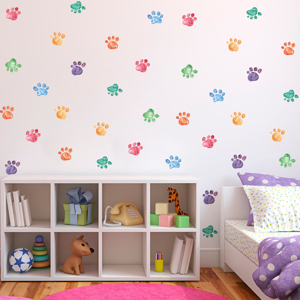 3D Dog Cats Footprint Wall Stickers Watercolor Paw Prints Decals Wall Picture for Kidu0027s room christmas decorations for home-in Wall Stickers from Home ... & 3D Dog Cats Footprint Wall Stickers Watercolor Paw Prints Decals ...