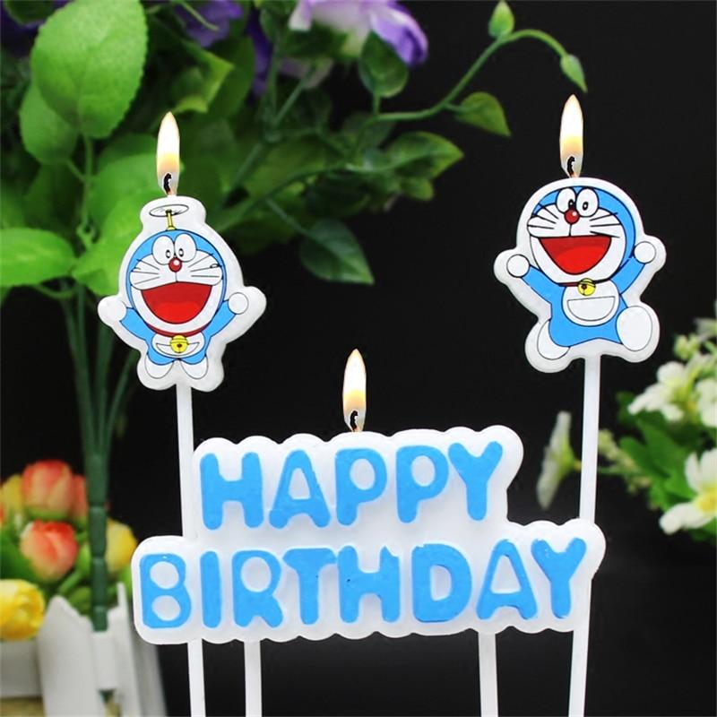 happy birthday candle cat doraemon decoration party decorations kids children supplies cake