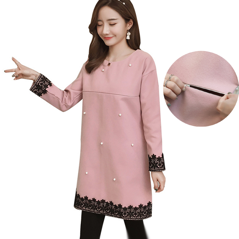 Maternity Winter Thick Lace Patchwork Dress for Pregnant Women Plus Size Beading Dreses Pregnancy Korean Fashion Elegant Clothes стоимость