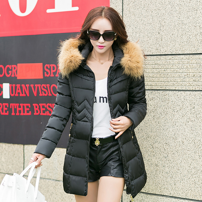 High Quality 2016 Fashion Women Parka Winter Jacket Female Long Coat Thick Fur Hoody Lightweight Down Jacket Outwear M-4XL  high quality womens coats winter fashion women parka winter jacket female long white duck down parkas coat thick hoody coat