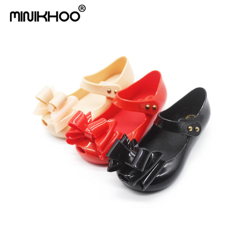 Mini Melissa 2018 New Jelly Children Princess Shoes Sweet Girls Bow Sandals Beach Sandals For Baby Melissa Girls Jelly Sandals