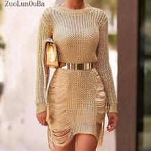 264336289f ZuoLunOuBa 2018 Letnia Sukienka Złota Metalu Dzianiny Kobiety Ubierają  Popularny Odcinek Sexy Hollow Cut Metal Olśniewająca