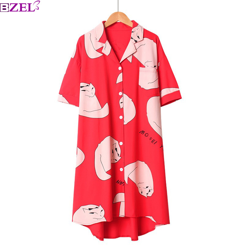 Summer New Ladies Sleepwear   Nightgown   Cute Fox Printed Sweet   Sleepshirt   Short Sleeve Knee Length V-Neck Loose Comfort Homewear