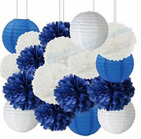 Whole DIY Paper Hanging Decoration Set With Navy Blue White Tissue Ball Good For Birthday Wedding