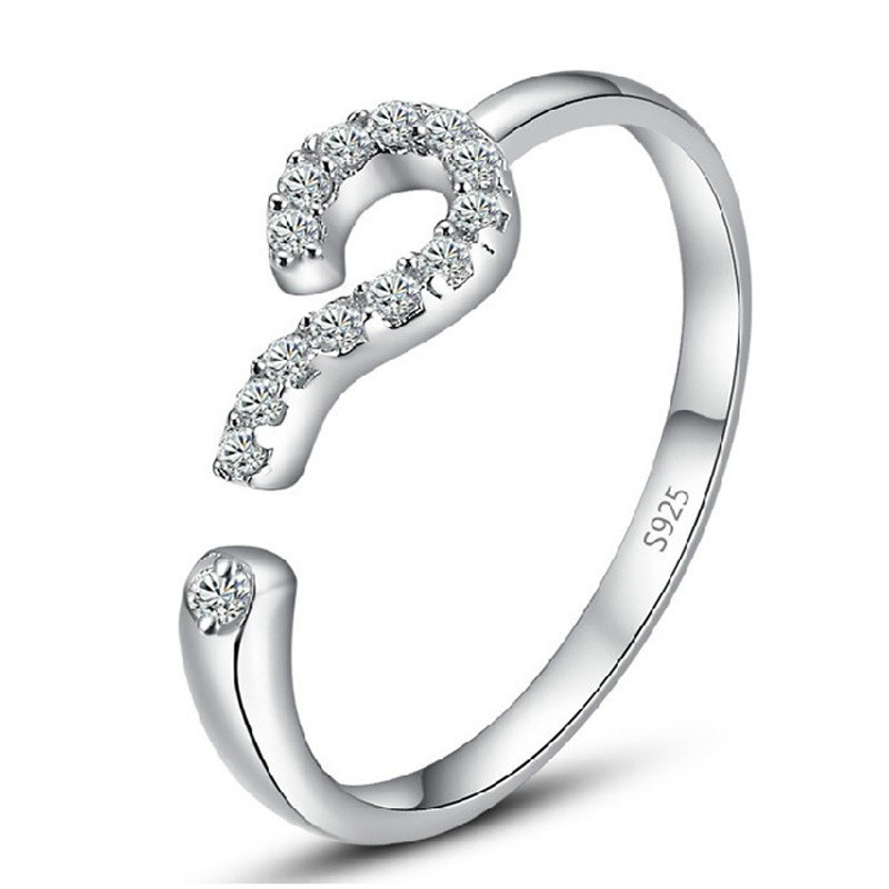 hot sale fashion question mark 925 sterling silver adjustable finger rings for women/man jewelry Drop Shipping