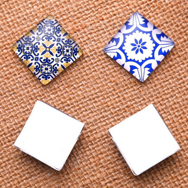 Blue White Porcelain Square Pattern Fit DIY Jewelry Making 2