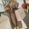 2017 Primavera Nuevo Estilo Coreano de Gran Tamaño Capa Del Suéter de Dos piezas Conjuntos de Suéter de Punto de Las Mujeres Conjunto de Las Mujeres