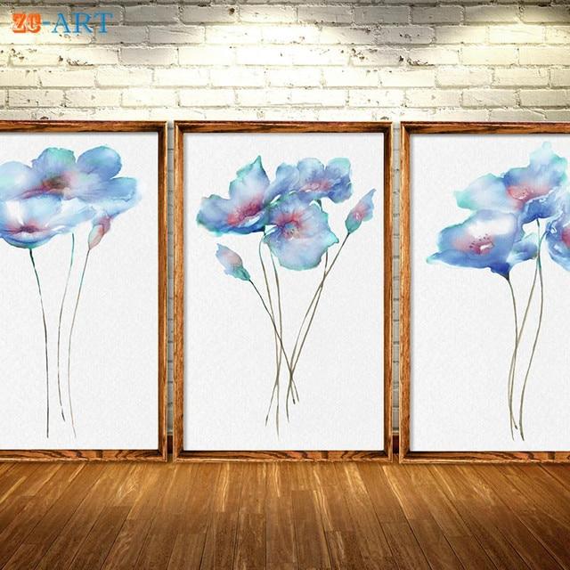 framed canvas art poppy watercolor poppy art blue wall decor blue