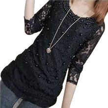 2017 Casual Basic Autumn Winter Lace Chiffon Blouse Top Shirt beads Sexy Hollow out long Sleeve embroidery Large size D0445