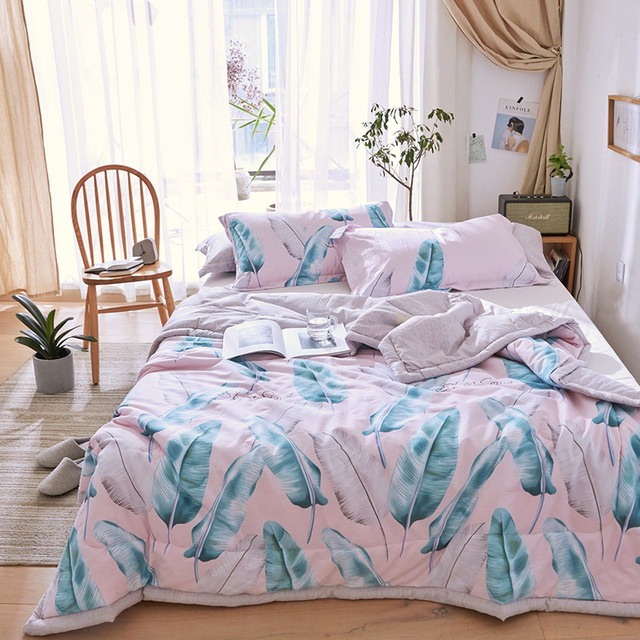 Pure Cotton Reactive Printed Pink Color Comforter Sets Summer Bed Linens 2/3 PC Twin Full Queen Size Kids Adult Bedding Sets