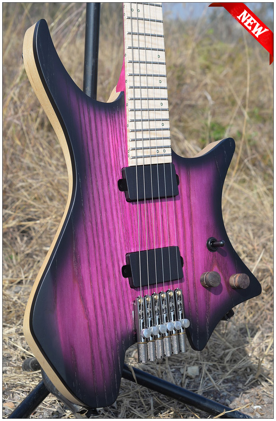 2018 Nouveau NK Sans Tête guitare Attisé Frette guitares steinberger style Modèle éclat Violet Couleur Flamme manche érable Guitare livraison gratuite