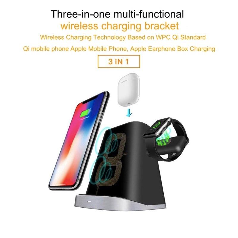 YYWIFI multifonctionnel qi chargeur sans fil Applicable à Apple Iwatch montre téléphone Mobile X boîte casque Vertical trinité