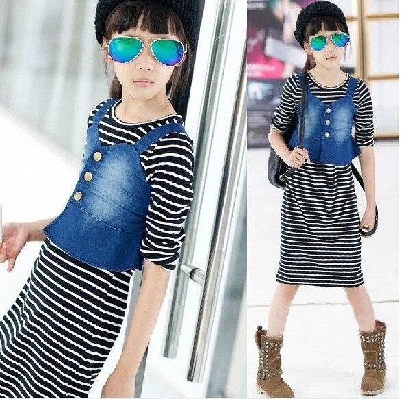ФОТО Children Cowboy Camisole Elastic Force Stripe Seven Part Sleeve Even Longuette 2 Pieces Kids Clothing Sets