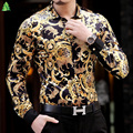 2016 Chemise Homme Marque Luxe Barroco Camisa Dos Homens Roupas de Marca De Luxo De Seda da Cópia do Leopardo Camisas Heren Kleding Abbigliamento