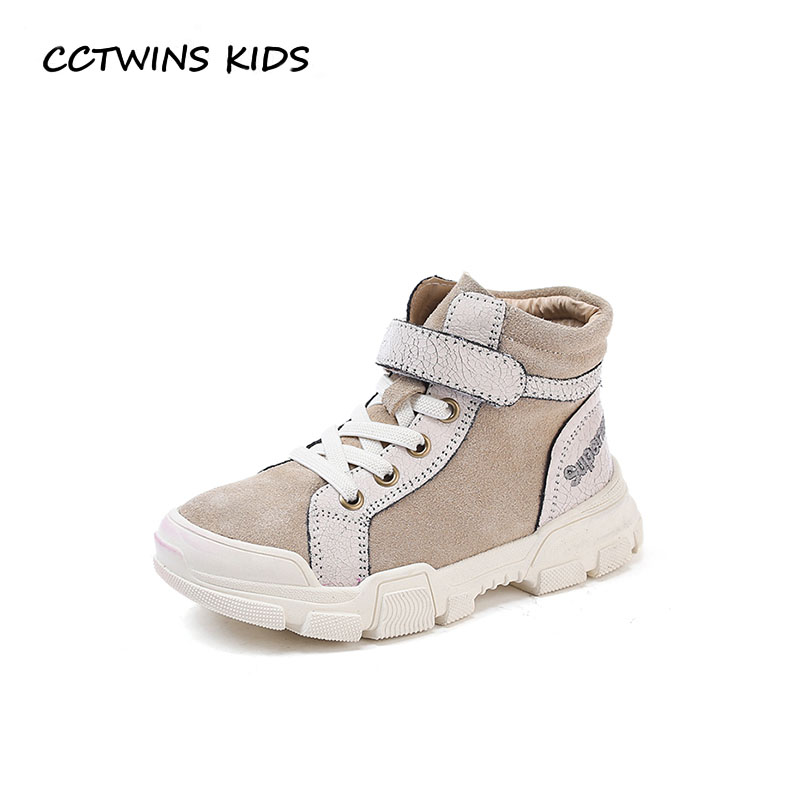 CCTWINS KIDS 2018 Winter Children Genuine Leather Trainer Baby Boy Brand High Top Sneaker Girl Fashion Sport Shoe FH2312 cctwins kids 2017 spring high top usb rechargeable lighted girl brand trainer baby boy shoe led children fashion sneaker f1312