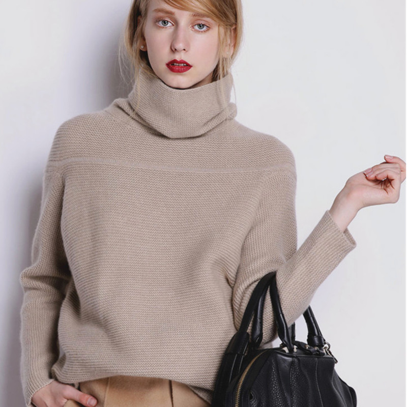 BELIARST New Autumn and Winter Cashmere Sweater Women's High Collar Thick Solid Color Sweater Loose Knit Sweater Wild Pullover 3