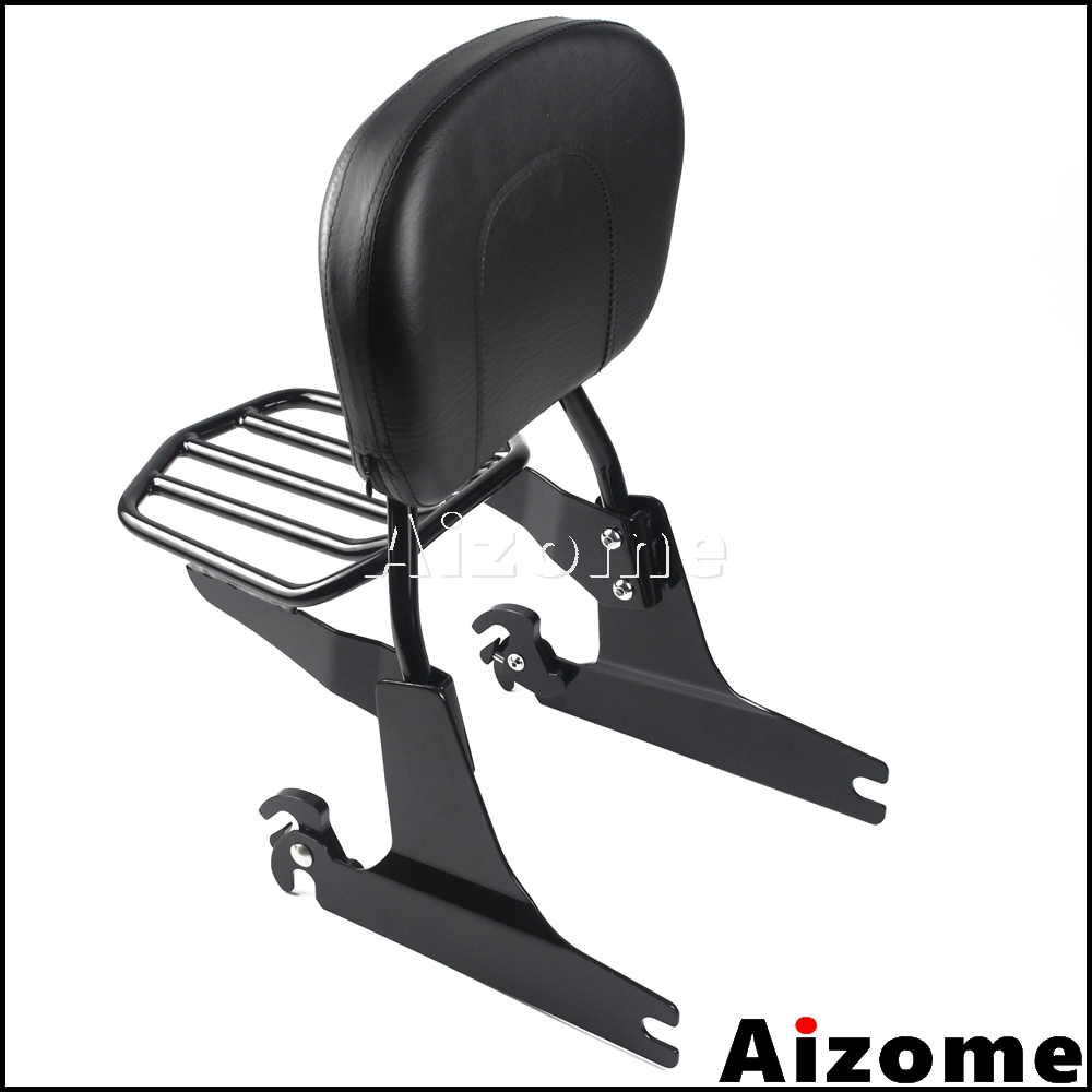 Black Sissy Bar Backrest Luggage Rack For Harley Dyna Fat Bob FXDF CVO FXDFSE 2008 Later