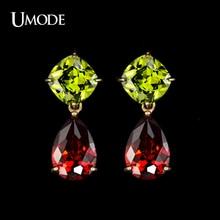 UMODE Brand My Mona Lisa Earrings Gold Color CZ Crystal Dangle Earring Water Drop Earrings For