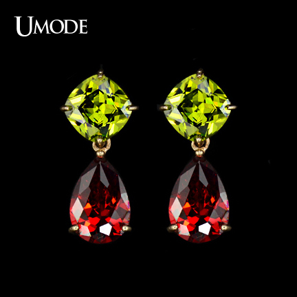 UMODE Brand My Mona Lisa Earrings Gold Color CZ Crystal Dangle Earring Water Drop Earrings For Women Brincos Mother Gift AUE0019