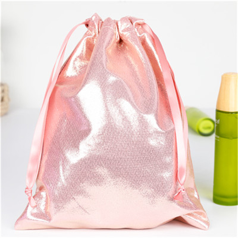New Design Soft PU Leather Sequin Pink Drawstring Pouch Bag/ Wedding Candy Clothes Packing Drawstring Pouch