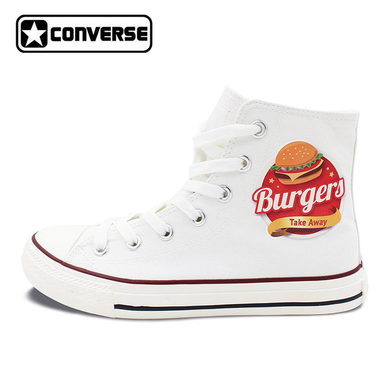 2017 New Converse All Star Shoes High Top Hamburger White Canvas Sneakers Christmas Gifts for Men Women men women s converse all star shoes high top lace up flats design five food recipes on white canvas sneakers gifts