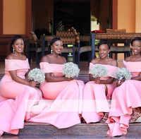 847d8092dbe5ca3 Розовый 2019 дешевые платья подружки невесты до 50 Русалка с открытыми  плечами атласные длинные свадебные вечерние