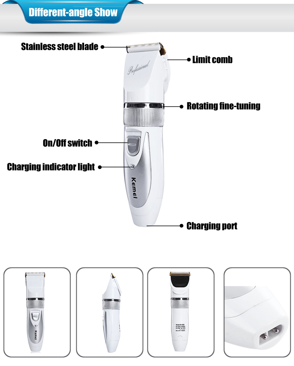 Kemei KM-6688 Professional Hair Trimmer Electric Hair 3