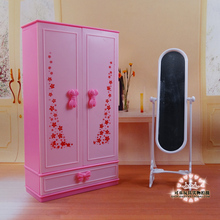Dream Dollhouse mini Furniture Pink Chest Closet Wardrobe + Mirror Set for barbie kurhn doll 1/6 DIY toy Girls Gift Wholesale
