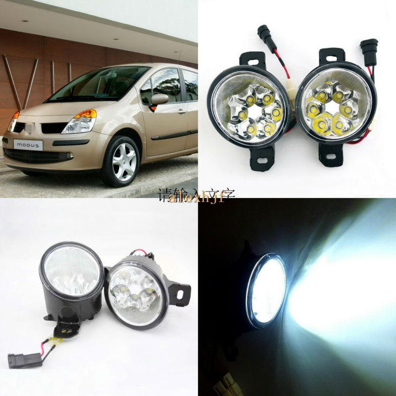 July King 18W 6LEDs H11 LED Fog Lamp Assembly Case for Renault Modus 5D Grand Modus, 6500K 1260LM LED Daytime Running Lights for opel astra h gtc 2005 15 h11 wiring harness sockets wire connector switch 2 fog lights drl front bumper 5d lens led lamp