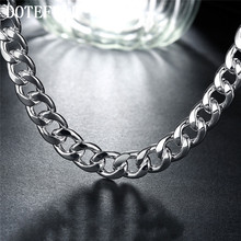 925 Silver Color 10mm 20 inch/24 inch Men's Figaro Chain Necklaces For Men 925 Silver Color Jewelry Large Necklace(China)