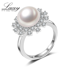 цена 100% real freshwater pearl ring for women gift 925 sterling silver adjustable ring with AAAA natural pearl jewelry wedding